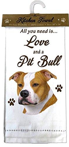 (E&S Pets 700-26 Pit Bull, Brindle & White Kitchen Towels)