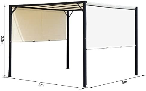 Outsunny Pérgola 3x3m Gazebo Cenador con Techo Retráctil y Pared Lateral Acero Versátil para para Jardín Patio o Terraza Tela Poliéster Resistente al Agua y UV: Amazon.es: Jardín
