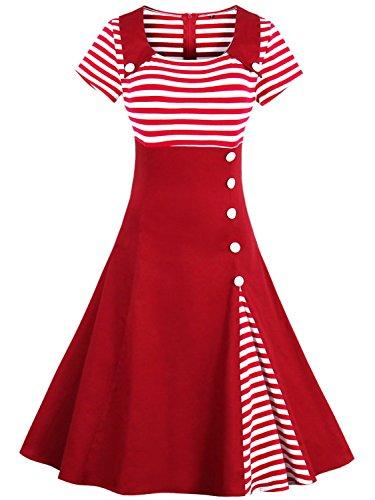 Women's OL Style Stripe Scoop Neck Short Sleeve Casual Swing Dress (Red,M) from Babyonlinedress
