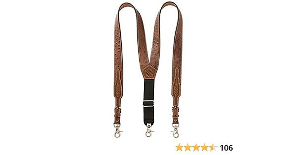 Mens Ostrich Print Leather Suspender Nocona Belt Co