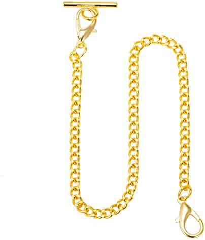 ManChDa Mens Pocket Watch Albert Vest Chain with T Bar & Lobster Clasps Watch Chain Link