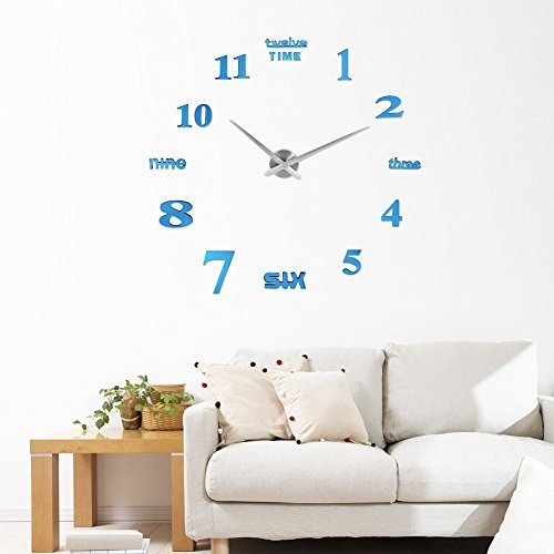 벽시계 수작업 DIY 벽시계 인테리어 실내 wall clock wall 스티커 로마숫자와 영어 시계를 벽면에 자유롭게 설치 할 수 있는 심플 방 장식 간단 또한 세련되어 시계 clock (블루)