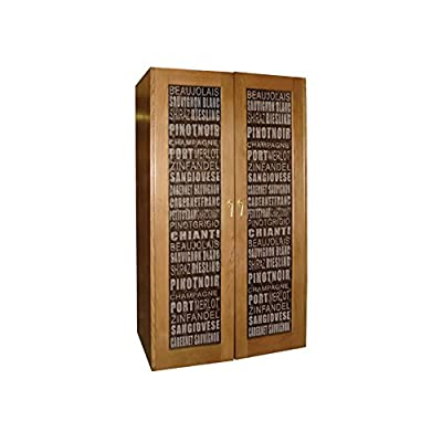 Wine Varietal 700-Model White Oak Wine Cabinet with Etched Glass Doors Home Kitchen Furniture Decor