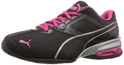 (PUMA Women's Tazon 6 WN's fm Cross-Trainer Shoe Black Silver/Beetroot Purple, 9 M US)