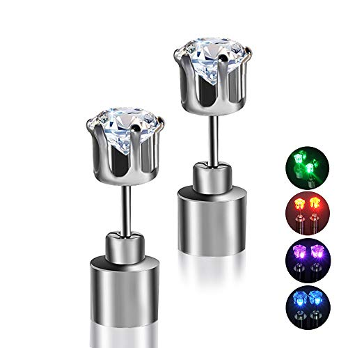 LED Earrings, 4 Pair Glowing Light Up Earrings Bright Stylish Fashion Ear Pendant Stud Stainless for Party Men Women Halloween Thanksgiving (4 Pairs Crown Shape)