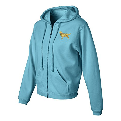Golden Retriever Ladies Pigment Dyed Full Zip Hooded Sweatshirt Color Lagoon Blue, Size XL