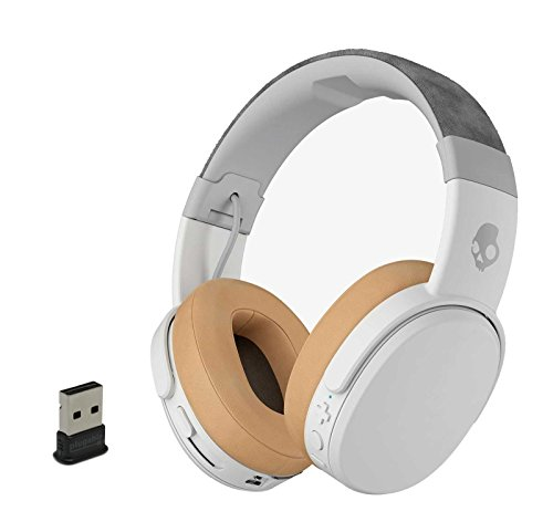 Skullcandy Crusher Wireless Bluetooth Over-Ear Headphone Bundle Bundle with Plugable USB 2.0 Bluetooth Adapter - Gray/Tan
