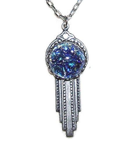 Art Czech Deco Glass (ART DECO Necklace CZECH Glass BLUE OPAL Silver Plt Pendant)