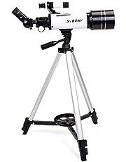Svbony SV35 Telescopio Refractor Astronómico 400/70mm con Trípode de Aleación de Aluminio y Adaptador de Teléfono Ideal para Principiantes Niños (Blanco)