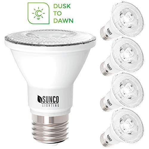 Sunco Lighting 4 Pack PAR20 LED Bulb, Dusk-to-Dawn Photocell Sensor, 7W=50W, 5000K Daylight, 500 LM, Auto On/Off Security Flood Light - UL