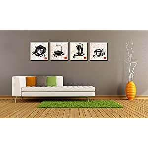 SpecialArt - Series Paintings Wall Art - Black and White Chinese Painting Style the Teapot and Teacup painting - 4 Panels Picture Print on Canvas for Modern Home Decor