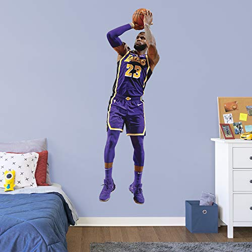 Fathead NBA Los Angeles Lakers LeBron James LeBron Shooting- Officially Licensed Removable Wall Decal, Multicolor, Life Size