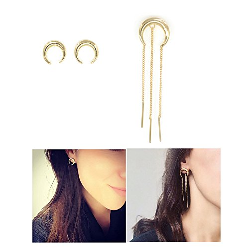 espere-horn-crescent-moon-stud-earrings-3-piece-set-studs-and-tassel-gold-tone-fun-multiple-ways-to-