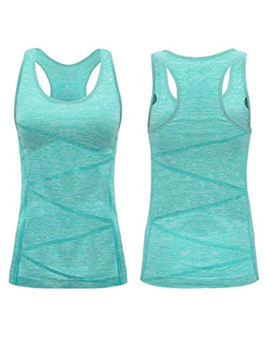Extra Long Work Shirt - VANIS Women's Yoga Tank Tops Stretchy Activewear Workout Vest with Removable Pad,Medium,Light Green
