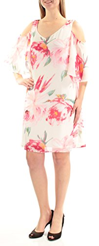 (Connected Apparel Womens Chiffon Floral Print Casual Dress Ivory 8)