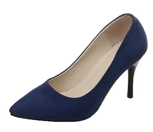 VogueZone009 Women's Pull-On Frosted Pointed-Toe High-Heels Solid Pumps-Shoes Blue 0JTzmF
