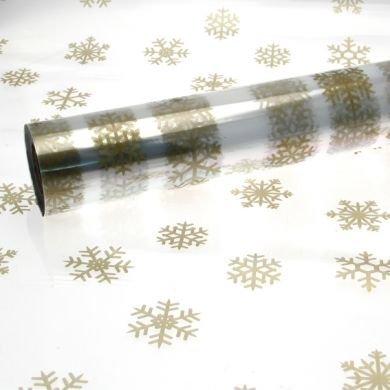 15m x 80cm grande oro fiocchi di neve Natale CELLOFANE DESIGN SU TRASPARENTE CARTA REGALI - ideale per floreale, regali e cesto presentazioni gemsupplies
