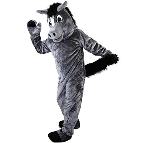 Langteng Dark Grey Horse Cartoon Mascot Costume Real Picture 15-20days delivery -