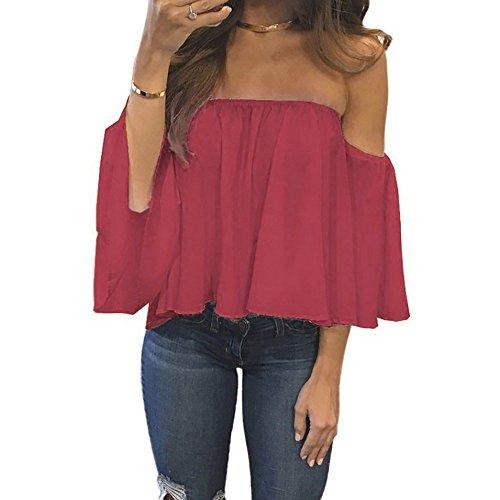 iDWZA Women Pullover T Shirt Off Shoulder Casual Blouse 2018(XL,Red 2) ()