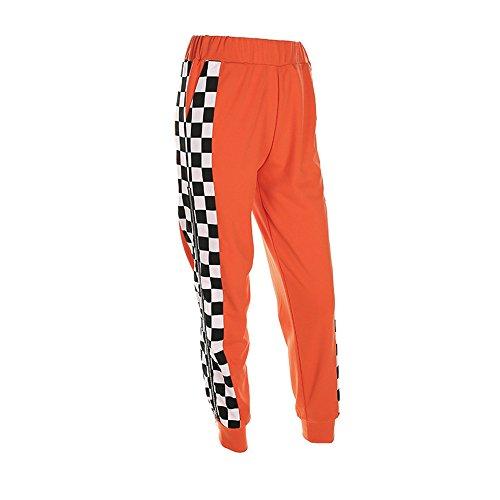 malianna Women Pantalon Femme Side Checkerboard Zipper Orange Trousers Plaid Patchwork Pencil Pants (M)