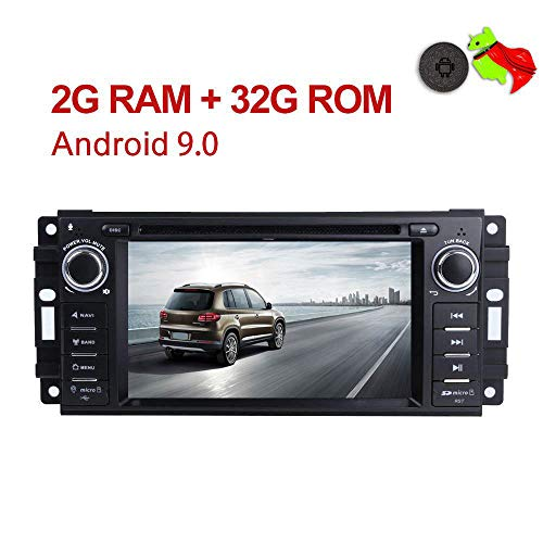MCWAUTO for Jeep Wrangler JK Dodge Ram Challenger GPS DVD Player Head Unit Android 9.0 Car Stereo Single Din 6.2 2G RAM+32G ROM Indash Radio with Navigation Bluetooth/Rear Camera