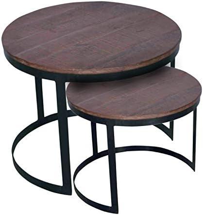 Online casamia salontafel 2-delige woonkamertafel-set rond Austin, metalen frame oudzilver kleur bruin basano, 60x60cm  WJP91S5