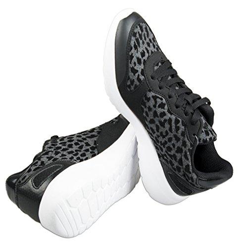 Fila - Zapatillas de running de algodón para mujer Negro negro Varios Colores - Black Leopard