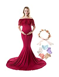 Sannyway Maternity Dress for Photography Off Shoulder Photoshoot Maxi Gown Sleeveless