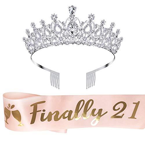 LAUMAY 21st Birthday Sash and Tiara Kit, Finally 21 Birthday Sash Birthday Gifts for Girl Party Favors Decorations (Pink)