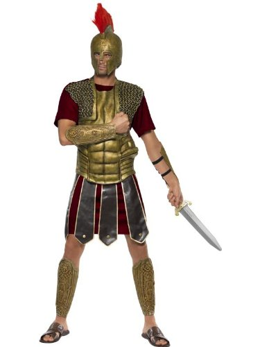 [Smiffy's Men's Perseus The Gladiator Costume, Tunic, Latex Chest Piece, Arm and Leg Cuffs, Legends, Serious Fun, Size L,] (Mens Perseus The Gladiator Costumes)