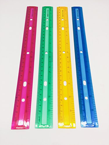 (GIFTEXPRESSⓇ Pack of 12 Assorted Color 12 Inch inches and Centimeters Plastic Rulers/ Plastic Office Rulers/School Rulers/Transparent Plastic Rulers/Clear Plastic rulers)