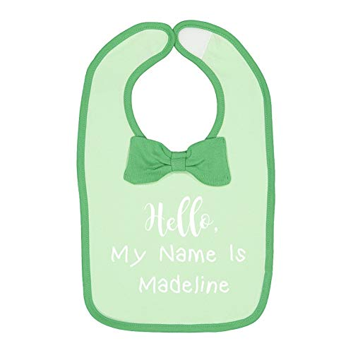 Hello, My Name is Madeline - Personalized Name Baby Cotton Bow Tie Baby Bib (Mint/Grass)