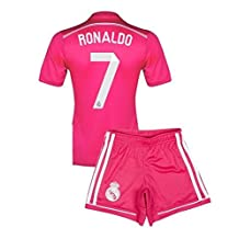Real Madrid Cristiano Ronaldo Away (Pink) Soccer Jersey and Shorts set YXL fits 9-12 y.o.