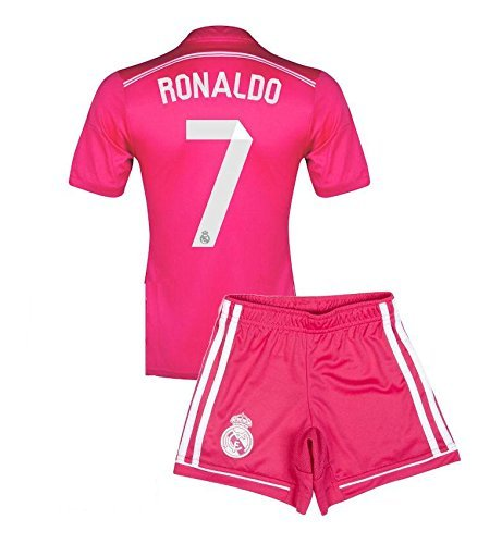 Crest Soccer Set - Real Madrid Cristiano Ronaldo Away (Pink) Soccer Jersey and Shorts set YXL fits 9-12 y.o.
