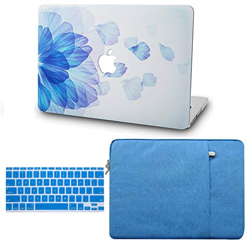 """KECC Laptop Case for MacBook Air 13"""" w/Keyboard Cover + Sleeve Plastic Hard Shell Case A1466/A1369 3 in 1 Bundle (Blue Flower)"""