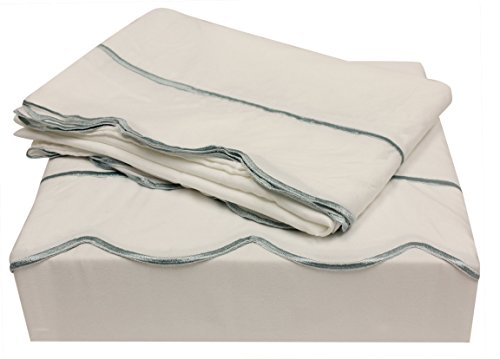 Embroidered Edge - Northpoint Bleu & Blanc Embroidered Hem Scalloped Edge Luxury Sheet Set, Queen, Seafoam