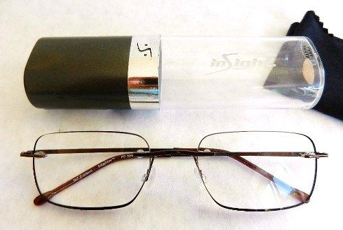 +3.00 Insight Esspresso EDGEGLOW Rimmless Reading Glasses w/ Hard Case (305) + FREE Bonus Micro-suede Cleaning - Rest Glasses Nose
