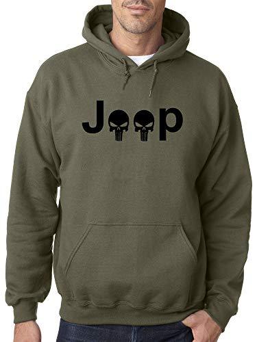 Trendy USA 1173 - Adult Hoodie Jeep Punisher Logo Skulls Unisex Pullover Sweatshirt Small Military Green