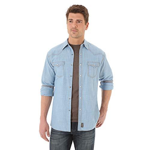 (Wrangler Men's Retro Two Pocket Long Sleeve Snap Shirt, Light Indigo, Medium)