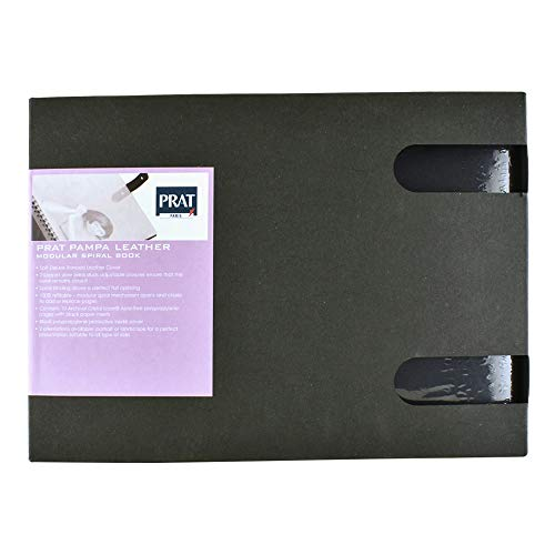 Professional Model Portfolios - Prat Pampa 163 Spiral Book, Soft Bonded-Leather Cover with 10 Sheet Protectors, 11 X 8.5 inches, Black (163-11x8.5)