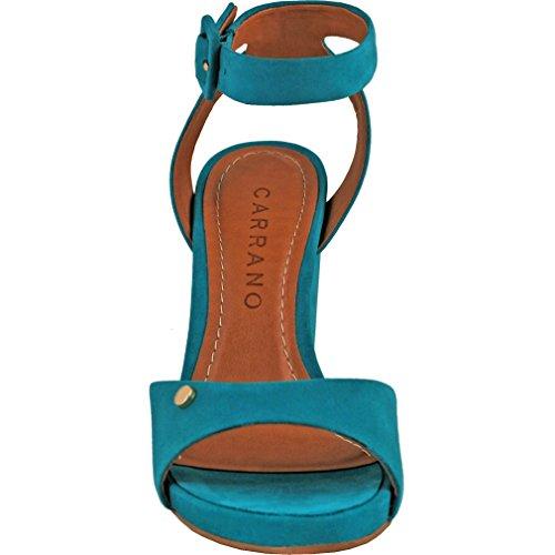 Sandalo In Pelle Nabuk Carrano Donna Con Cinturino Alla Caviglia Color Turchese