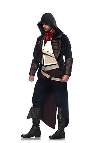 Leg Avenue Men's Assassin's Creed 7 Piece Arno Deluxe Costume Cosplay, Charcoal/Brown, Medium/Large (Assassin Halloween Costumes)
