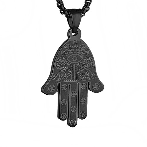 HZMAN Stainless Steel Egyptian Eye Fatima Hamsa Hand Pendant Necklace Success and Protection Lucky (Black)