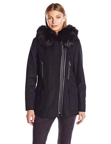 (Calvin Klein Women's Wool Coat with Pu Trim, Black, S )