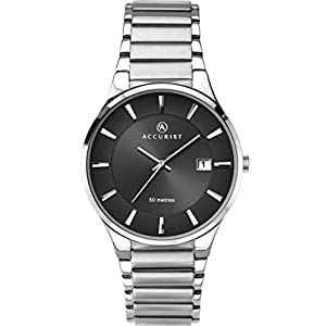 Accurist Mens Stainless Steel Japanese Quartz Watch With Sunray Dial, Date Window, Push Button Fold Over Clasp, 50m…