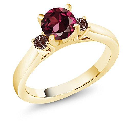 Gem Stone King Round Rhodolite Garnet 18K Yellow Gold Plated Silver 3-Stone Engagement Ring (Size 7)