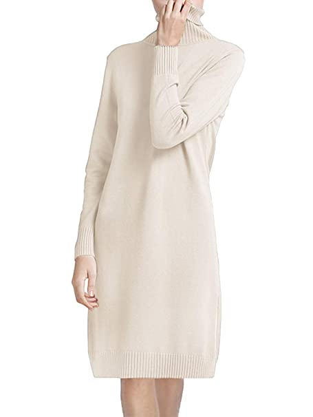 f19eabe789c Tomwell Womens Long Sleeve Turtle Neck Chunky Cable Knitted Jumper Knitwear Sweater  Dress Beige One Size(UK 6-14)  Amazon.co.uk  Clothing
