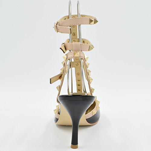 Oasap Women's Pointed Toe T-strap Rivet Stiletto Sandals Pink vkTQX