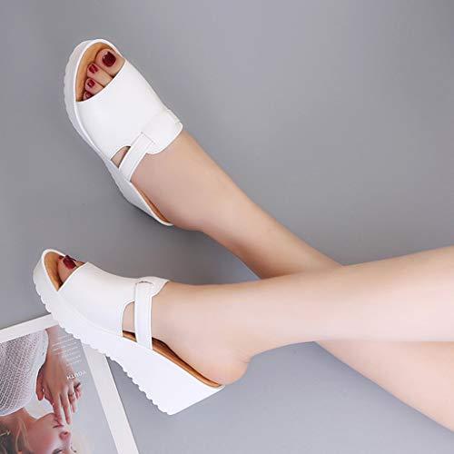 Outdoor Pantofole Con Paolian Romane Bianca Zeppa Scarpe Piattaforme Estive Donna Infradito Sandali Casual wvqR1Afv