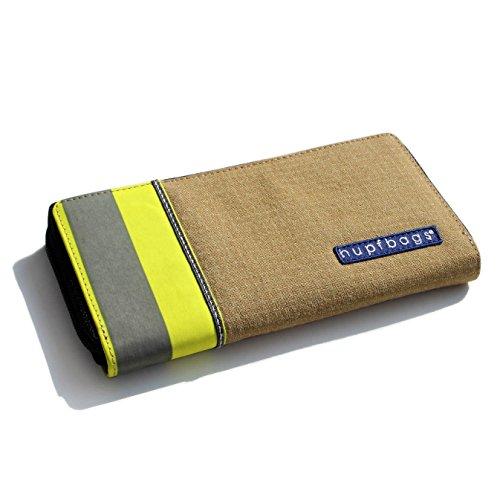 Roter Hahn 112 Feuerwehr Geldbörse/GOLD-D/Portemonnaie Geldtasche Portjuchhe Brieftasche Geldbeutel/195 x 105 x 20 mm/Original hupfbags/aus gebrauchter Feuerwehrkleidung